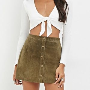 Forever 21 Olive Suede Button Up Skirt